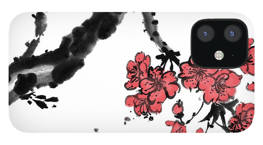 Chinese Culture IPhone 12 Case featuring the digital art Cherry Blossoms by Vii-photo