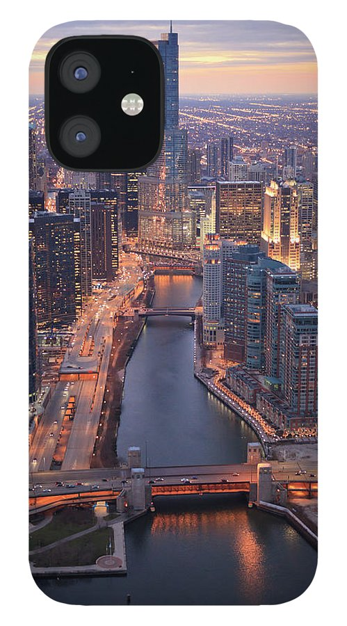 Tranquility IPhone 12 Case featuring the photograph Chicago Downtown - Aerial View by Berthold Trenkel