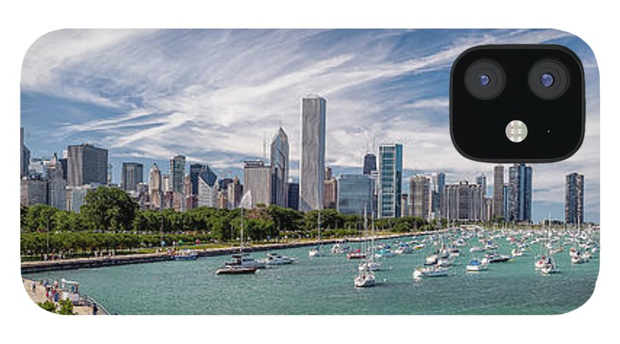 3scape IPhone 12 Case featuring the photograph Chicago Skyline Daytime Panoramic by Adam Romanowicz