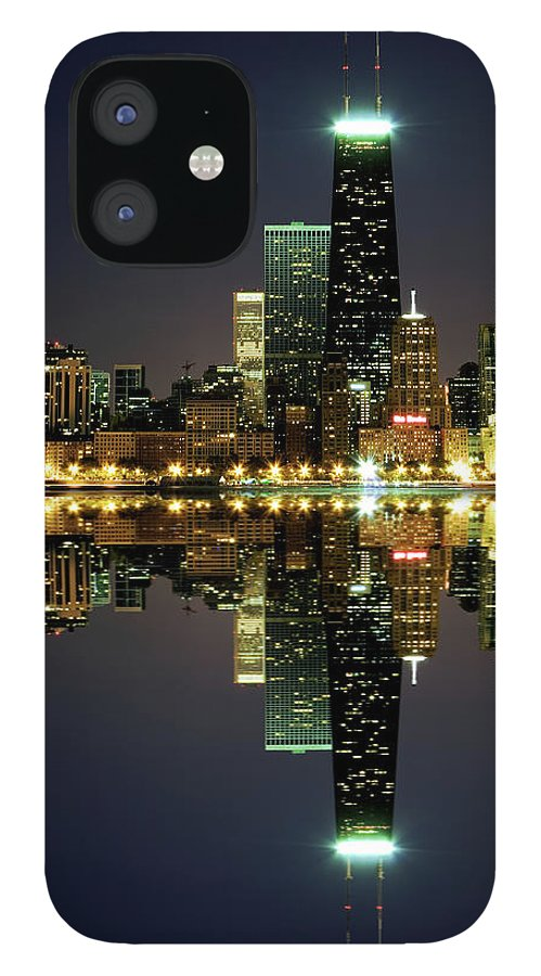 Lake Michigan IPhone 12 Case featuring the photograph Chicago Skyline Reflected On Lake by Pawel.gaul