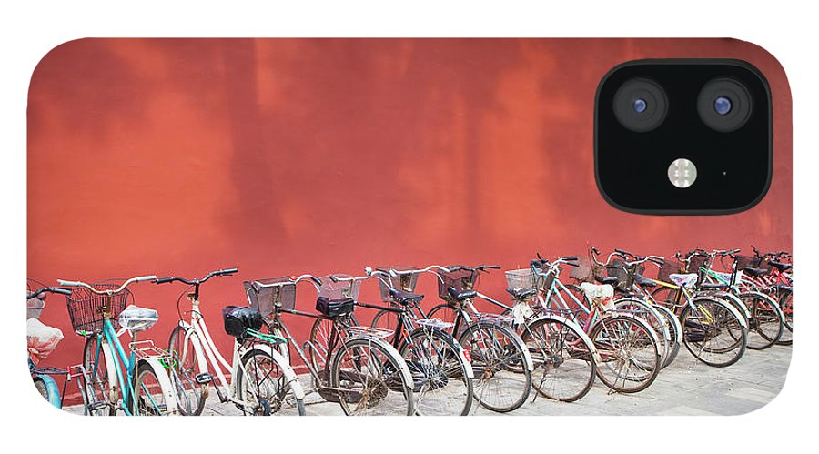 Shadow IPhone 12 Case featuring the photograph Chinese Bikes by Sam Diephuis