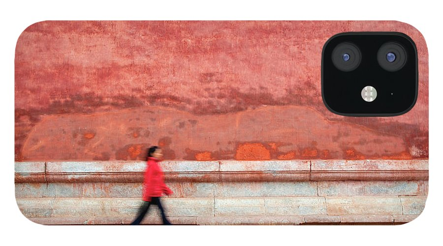 People IPhone 12 Case featuring the photograph Chinese Young Lady Walking By Monument by Grant Faint