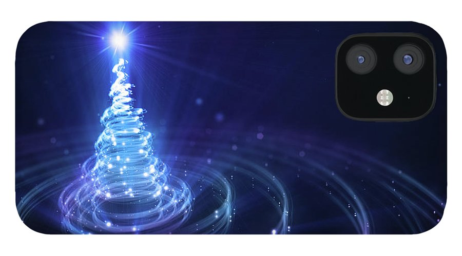 Particle IPhone 12 Case featuring the digital art Christmas Background by Da-kuk