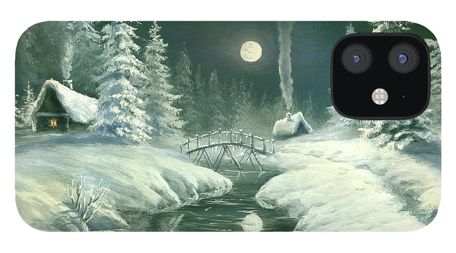 Art IPhone 12 Case featuring the digital art Christmas Night In The Country by Pobytov