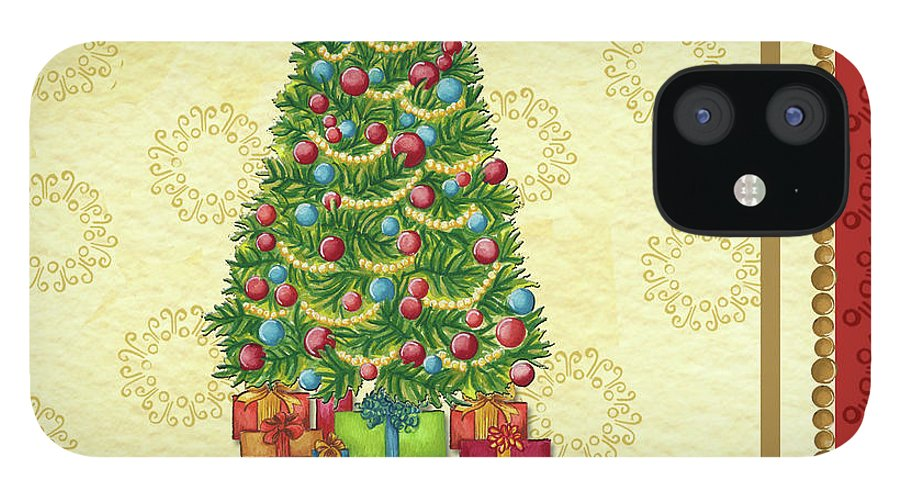 Christmas Tree Balls iPhone 12 Case featuring the painting Christmas Tree Balls by Andrea Strongwater