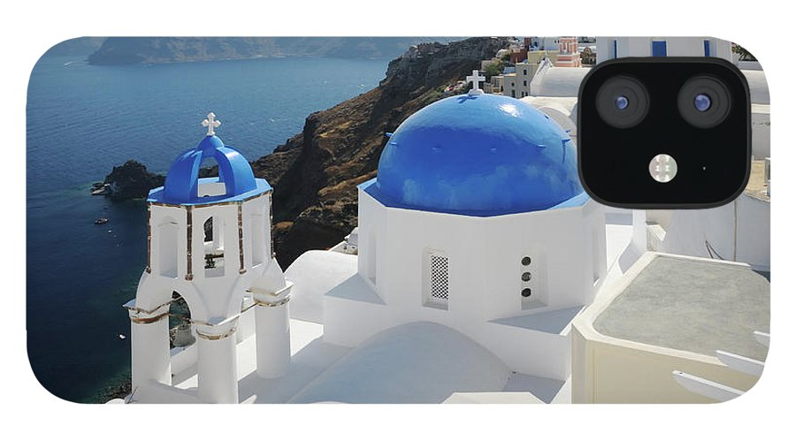 Greek Culture IPhone 12 Case featuring the photograph Churches In Oia, Santorini, Greece by Tunart