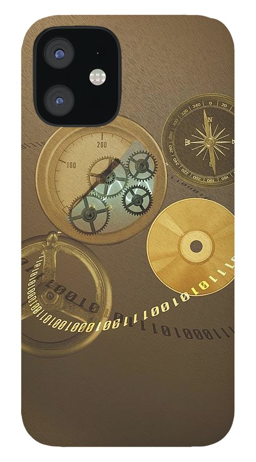 The Media IPhone 12 Case featuring the photograph Circular Objects And Binary Code, Cg by Daj