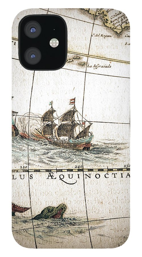 Engraving IPhone 12 Case featuring the digital art Circulus Aequinoctalis, Historical Map by Goldhafen