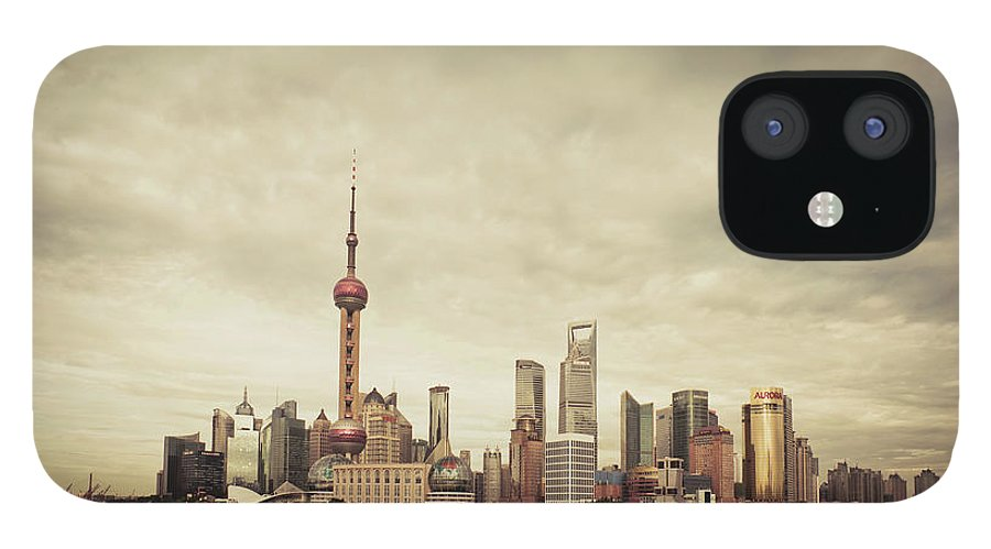 Communications Tower IPhone 12 Case featuring the photograph City Skyline At Sunset, Shanghai, China by D3sign
