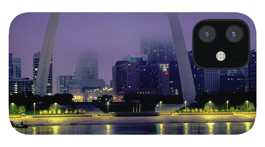 Arch IPhone 12 Case featuring the photograph City Skyline In Fog, With Gateway Arch by John Elk Iii