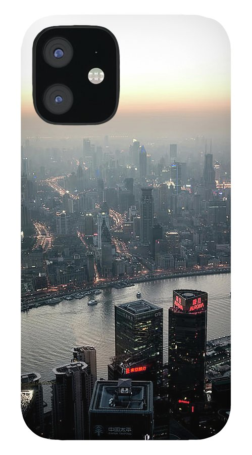 The Bund iPhone 12 Case featuring the photograph Cityscape Puxi Shanghai by Andy Brandl