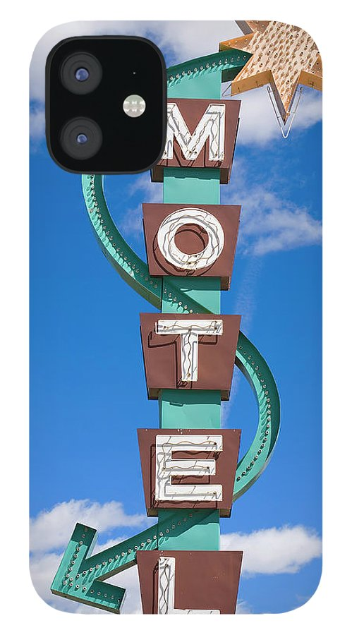 In A Row IPhone 12 Case featuring the photograph Classic Motel Sign by Elementalimaging
