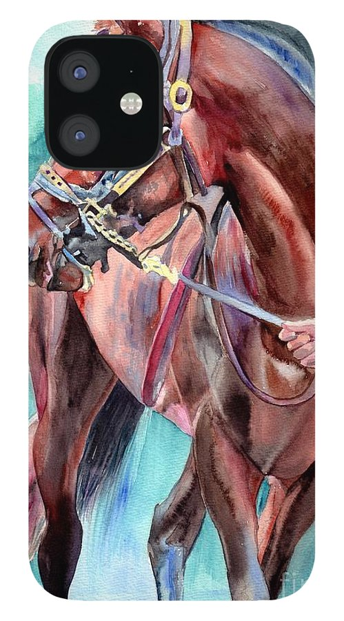 Watercolor IPhone 12 Case featuring the painting Classical Horse Portrait by Suzann Sines