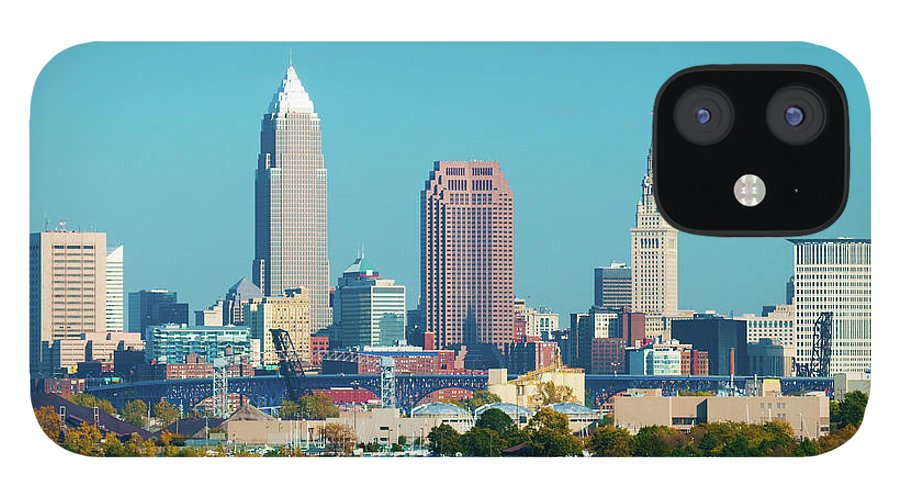 Downtown District IPhone 12 Case featuring the photograph Cleveland Skyline And Lake Erie by Davel5957