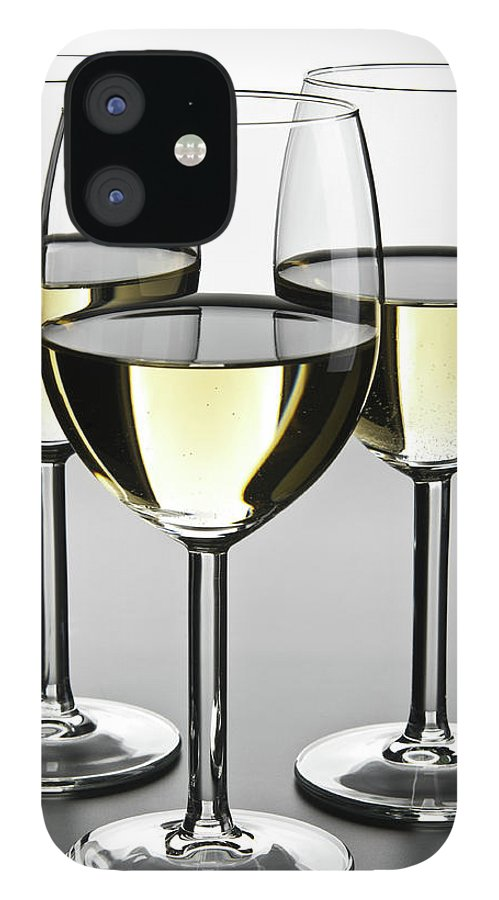 Alcohol iPhone 12 Case featuring the photograph Close-up Of Three White Wine Glasses by Domin domin