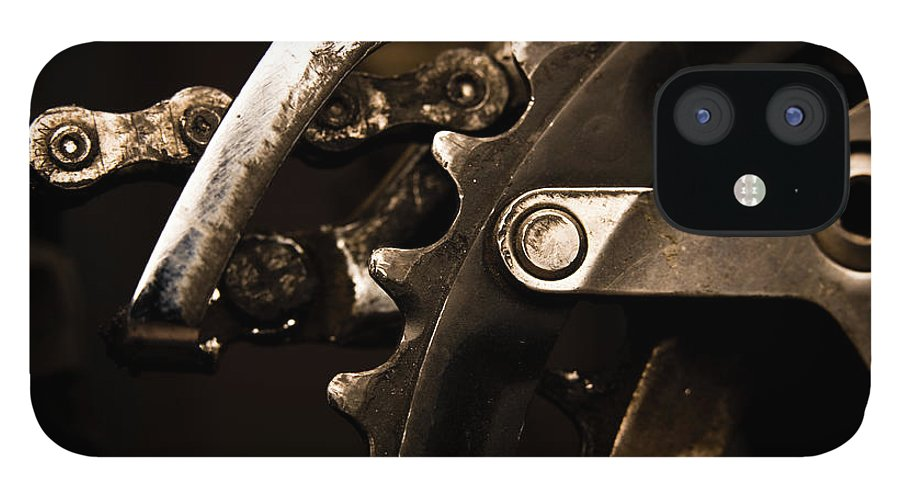 Unhealthy Eating iPhone 12 Case featuring the photograph Closeup Of Front Derailleur by Halbergman