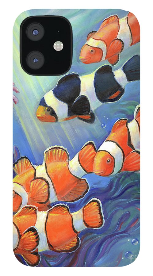 Clownfish IPhone 12 Case featuring the painting Clownfish Paradise by Svitozar Nenyuk