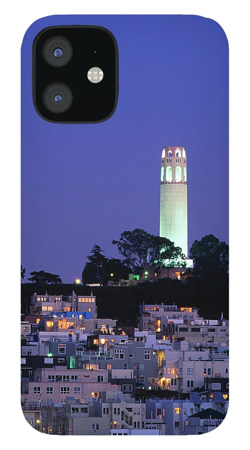 San Francisco IPhone 12 Case featuring the photograph Coit Tower, Telegraph Hill At Dusk, San by Thomas Winz