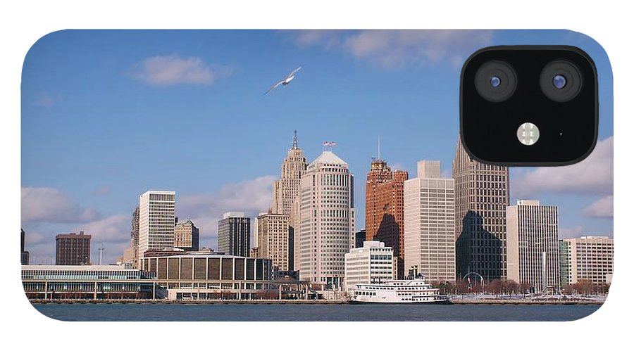 Downtown District IPhone 12 Case featuring the photograph Cold Detroit by Corfoto