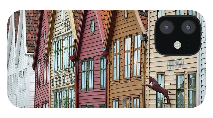 Panoramic IPhone 12 Case featuring the photograph Colourful Houses In A Row by Keith Levit / Design Pics