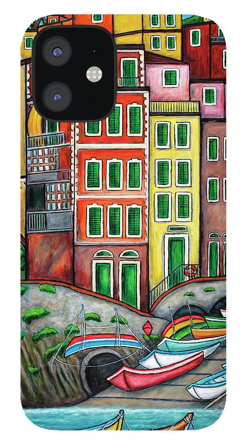 Italy IPhone 12 Case featuring the painting Colours of Riomaggiore Cinque Terre by Lisa Lorenz