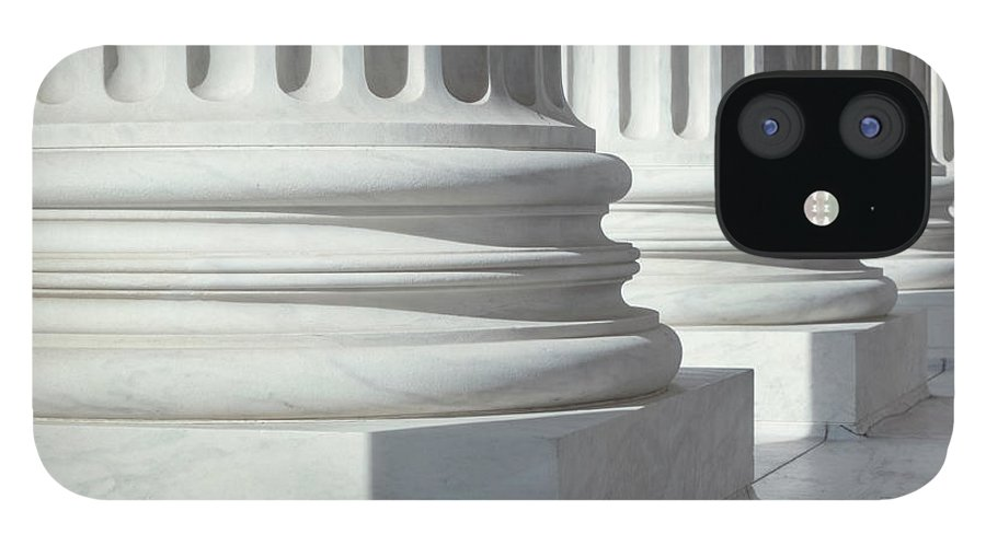 21st Century IPhone 12 Case featuring the photograph Column Outside U.s. Supreme Court by Drnadig