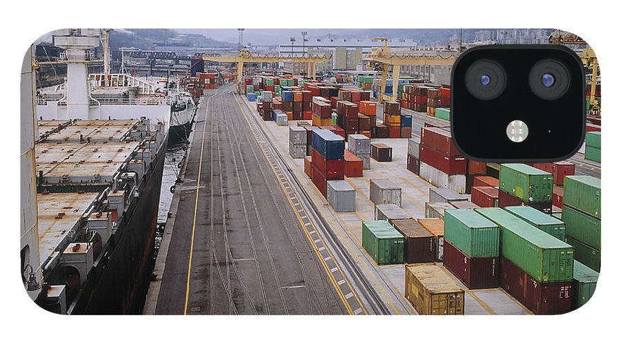 Freight Transportation IPhone 12 Case featuring the photograph Container Shipping, Port Of Genoa, Italy by Alberto Incrocci