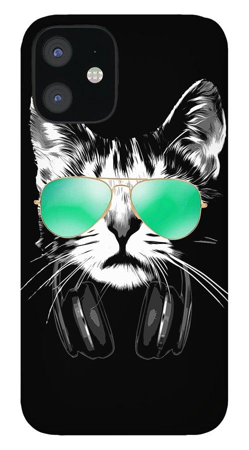 Cat IPhone 12 Case featuring the digital art Cool DJ Cat by Filip Schpindel