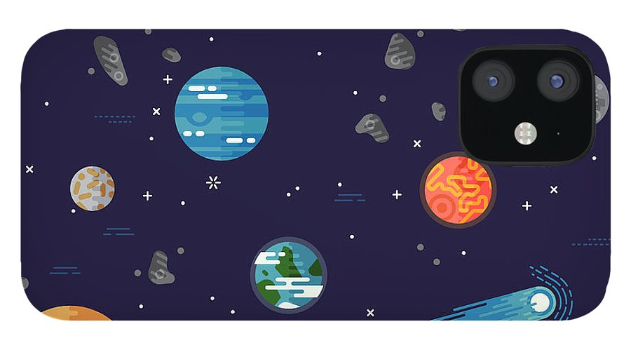 Big iPhone 12 Case featuring the digital art Cool Galaxy Planets And Stars Space by Mascha Tace