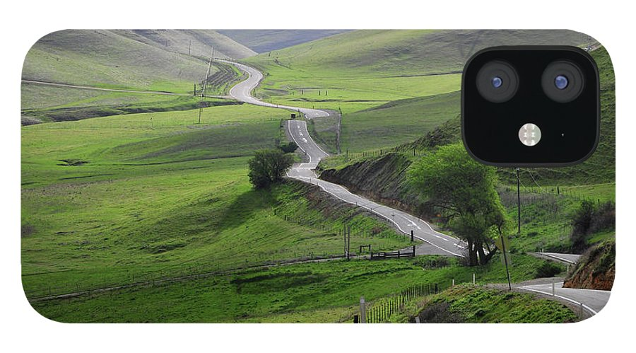 Scenics iPhone 12 Case featuring the photograph Country Road Through Green Hills by Mitch Diamond