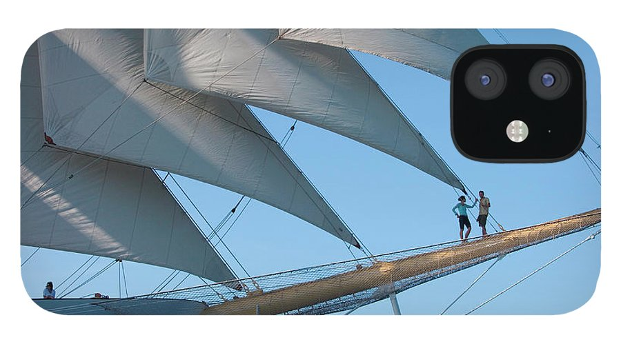 Heterosexual Couple iPhone 12 Case featuring the photograph Couple On Bowsprit Of Sailing Ship by Holger Leue