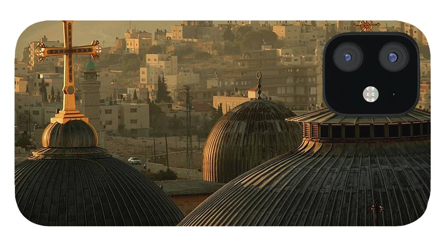 West Bank iPhone 12 Case featuring the photograph Crosses And Domes In The Holy City Of by Picturejohn