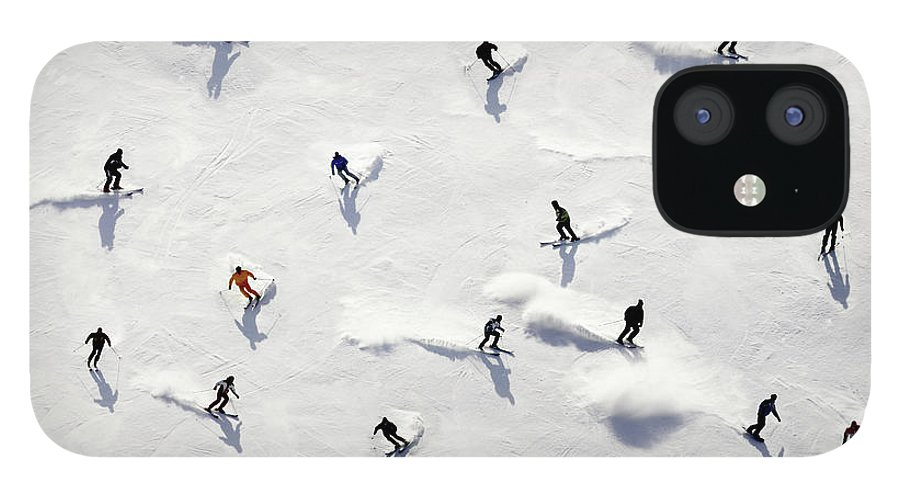 Skiing IPhone 12 Case featuring the photograph Crowded Holiday by Mistikas