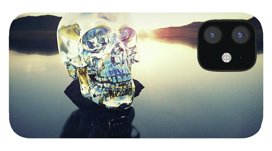 Art IPhone 12 Case featuring the photograph Crystal Skull Laying On Rock In Lake by Doug Armand