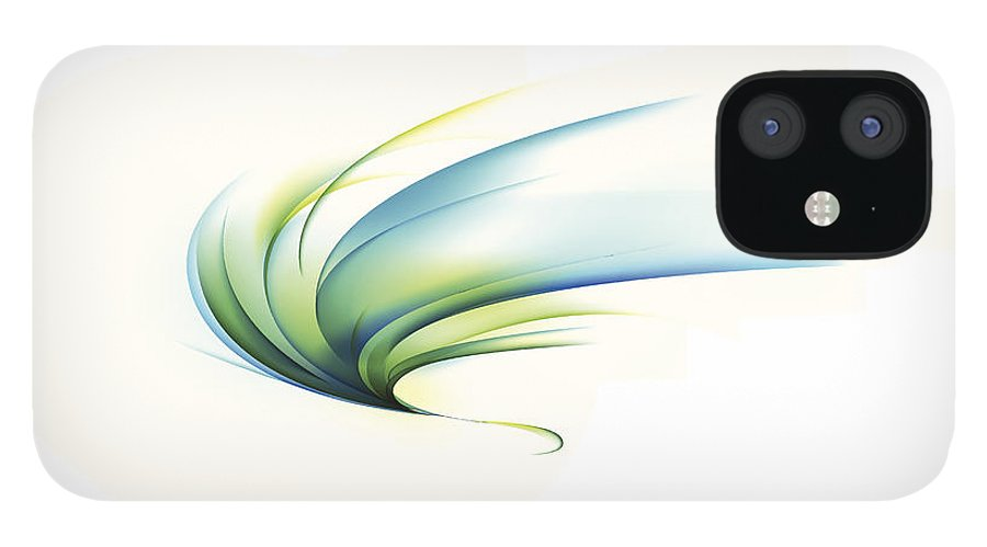 Curve IPhone 12 Case featuring the digital art Curved Shape On White Background by Eastnine Inc.