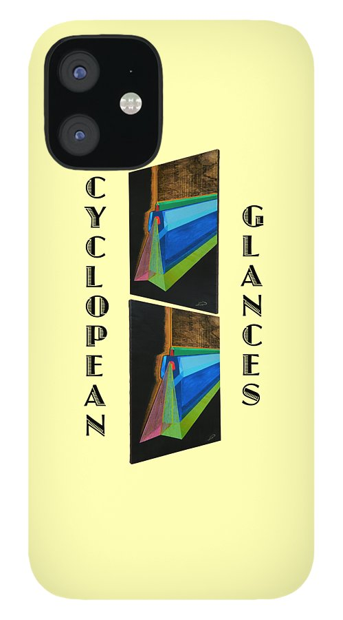 Art iPhone 12 Case featuring the painting Cyclopean Glances Hermite by Michael Bellon
