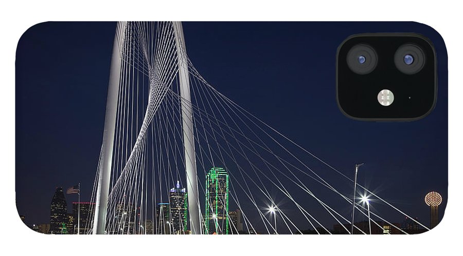 Suspension Bridge IPhone 12 Case featuring the photograph Dallas' Suspension Bridge At Night by Dhughes9