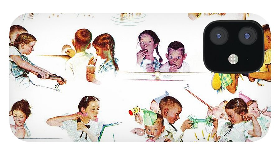 Birthdays IPhone 12 Case featuring the drawing Day In The Life Of A Girl by Norman Rockwell