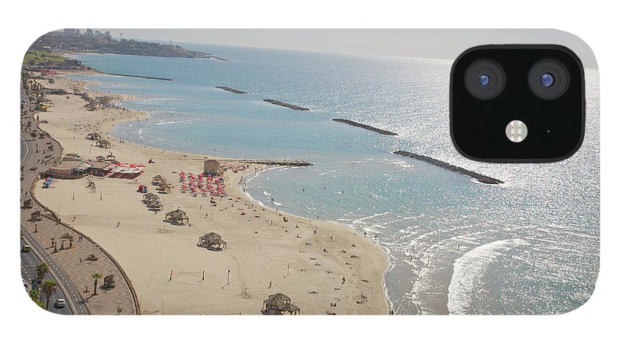 Tranquility IPhone 12 Case featuring the photograph Day View Of Tel Aviv Promenade And Beach by Barry Winiker
