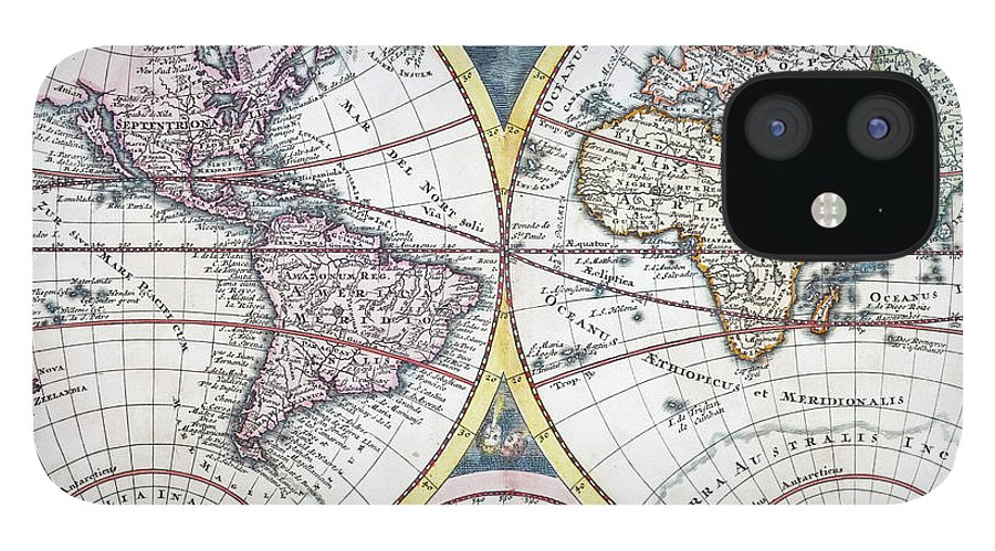 Engraving IPhone 12 Case featuring the digital art Detail Copper Engraving Of World Map by Grafissimo