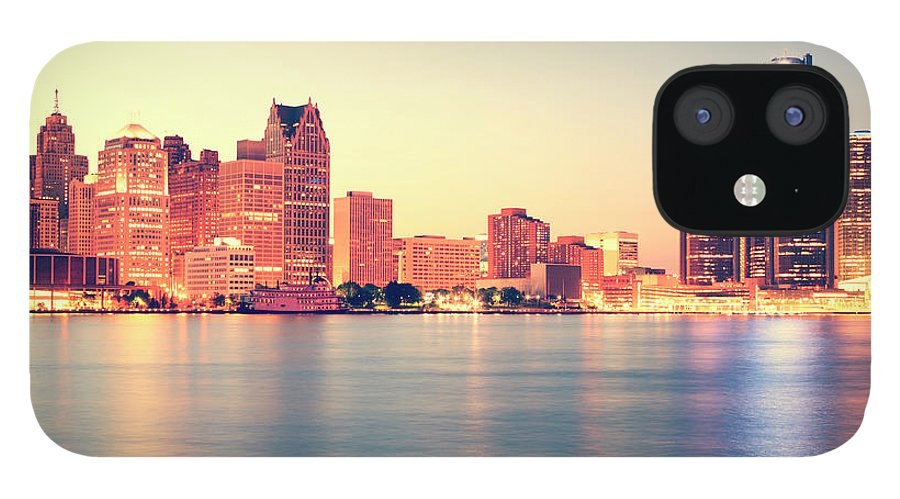 Downtown District IPhone 12 Case featuring the photograph Detroit At Sunset by Espiegle