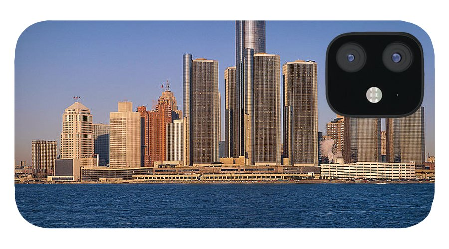 Detroit IPhone 12 Case featuring the photograph Detroit Buildings On The Water by Visionsofamerica/joe Sohm