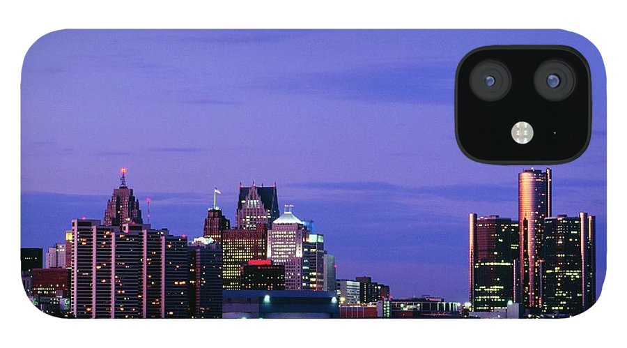 Downtown District IPhone 12 Case featuring the photograph Detroit Skyline At Night In Usa by Design Pics