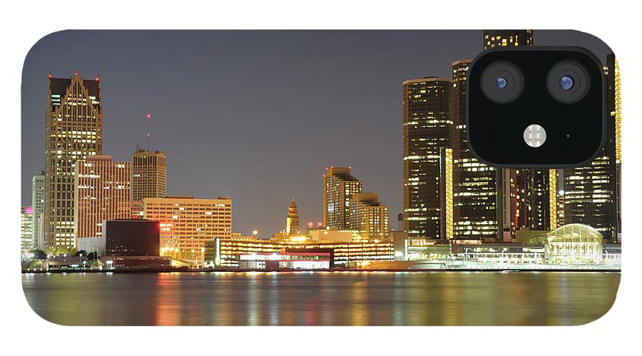 Downtown District IPhone 12 Case featuring the photograph Detroit Skyline At Night by Rivernorthphotography