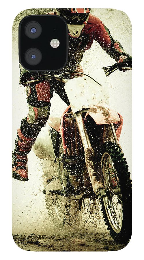 Crash Helmet IPhone 12 Case featuring the photograph Dirt Bike Rider by Thorpeland Photography