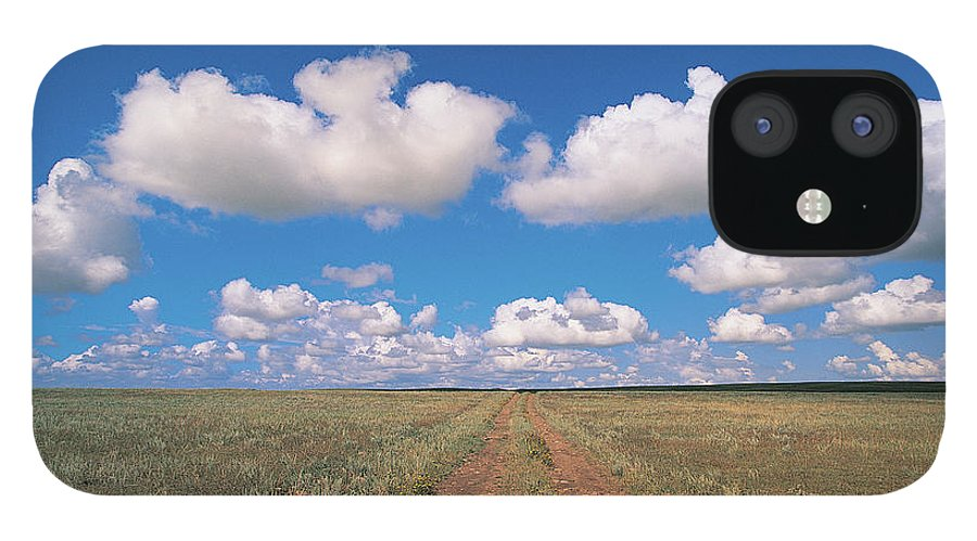 Grainy IPhone 12 Case featuring the photograph Dirt Road On Prairie With Cumulus Sky by Mimotito