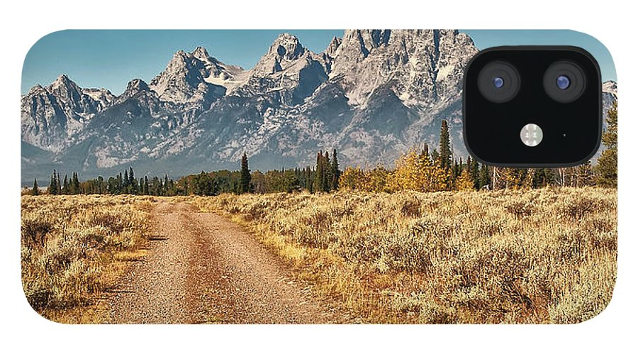 Tranquility IPhone 12 Case featuring the photograph Dirt Road To Tetons by Jeff R Clow