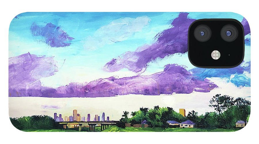 Little White Oak Bayou IPhone 12 Case featuring the painting Disrupted Serenity Little White Oak Bayou by Lauren Luna