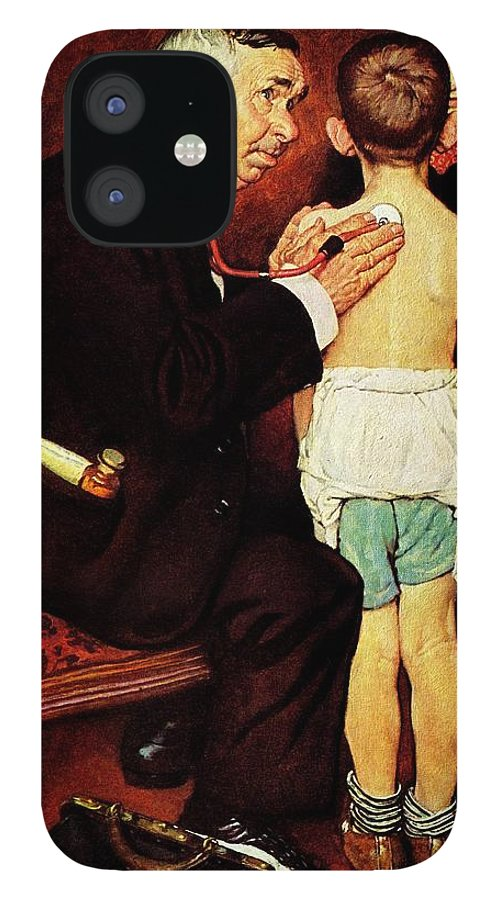 Doctor IPhone 12 Case featuring the drawing Doc Melhorn And The Pearly Gates by Norman Rockwell