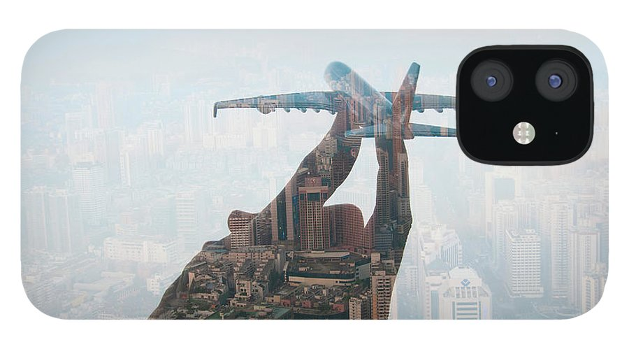People IPhone 12 Case featuring the photograph Double Exposure Of Hand Holding Model by Jasper James